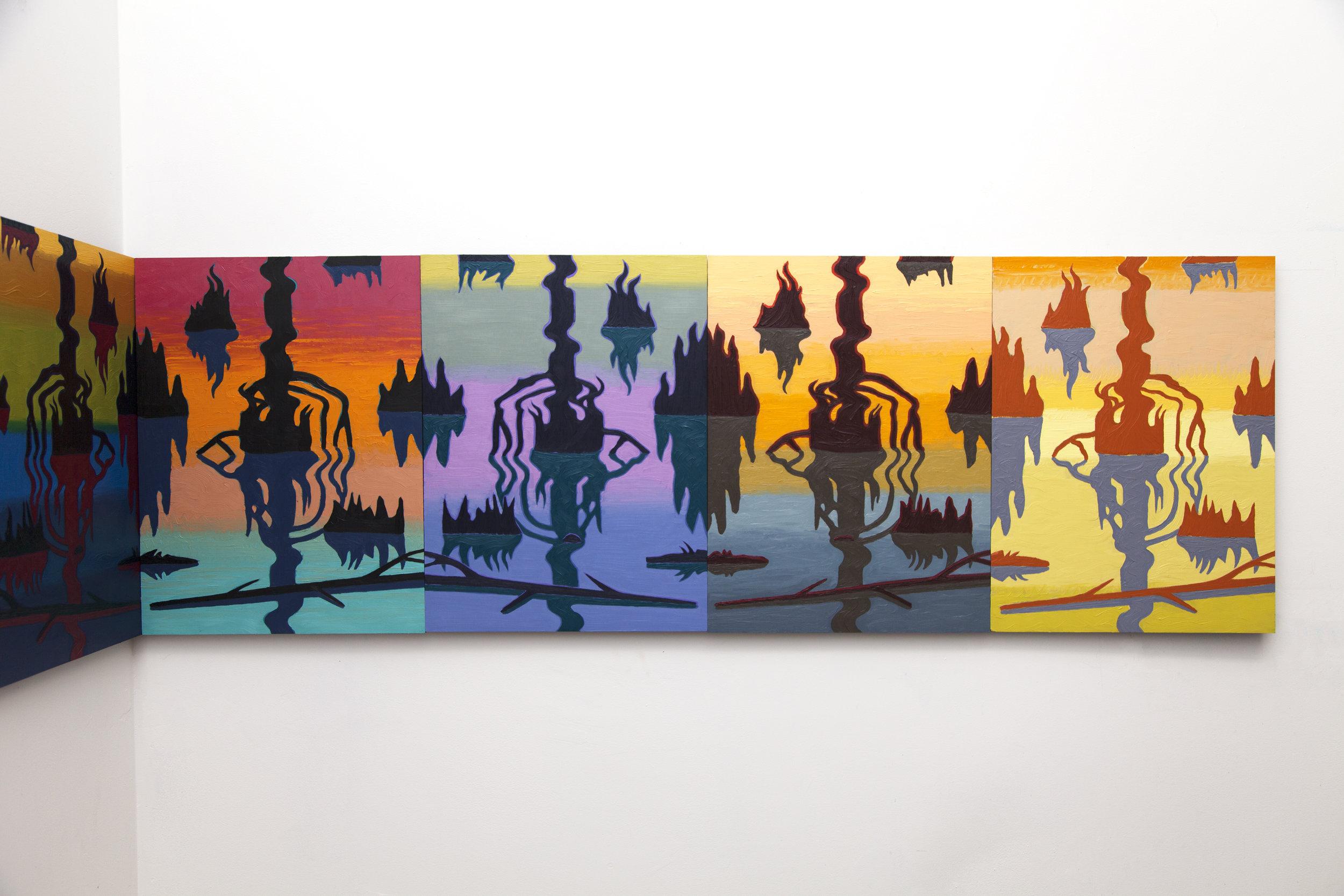 Swamp Shimmer   (detail), oil on panel, 2015-16