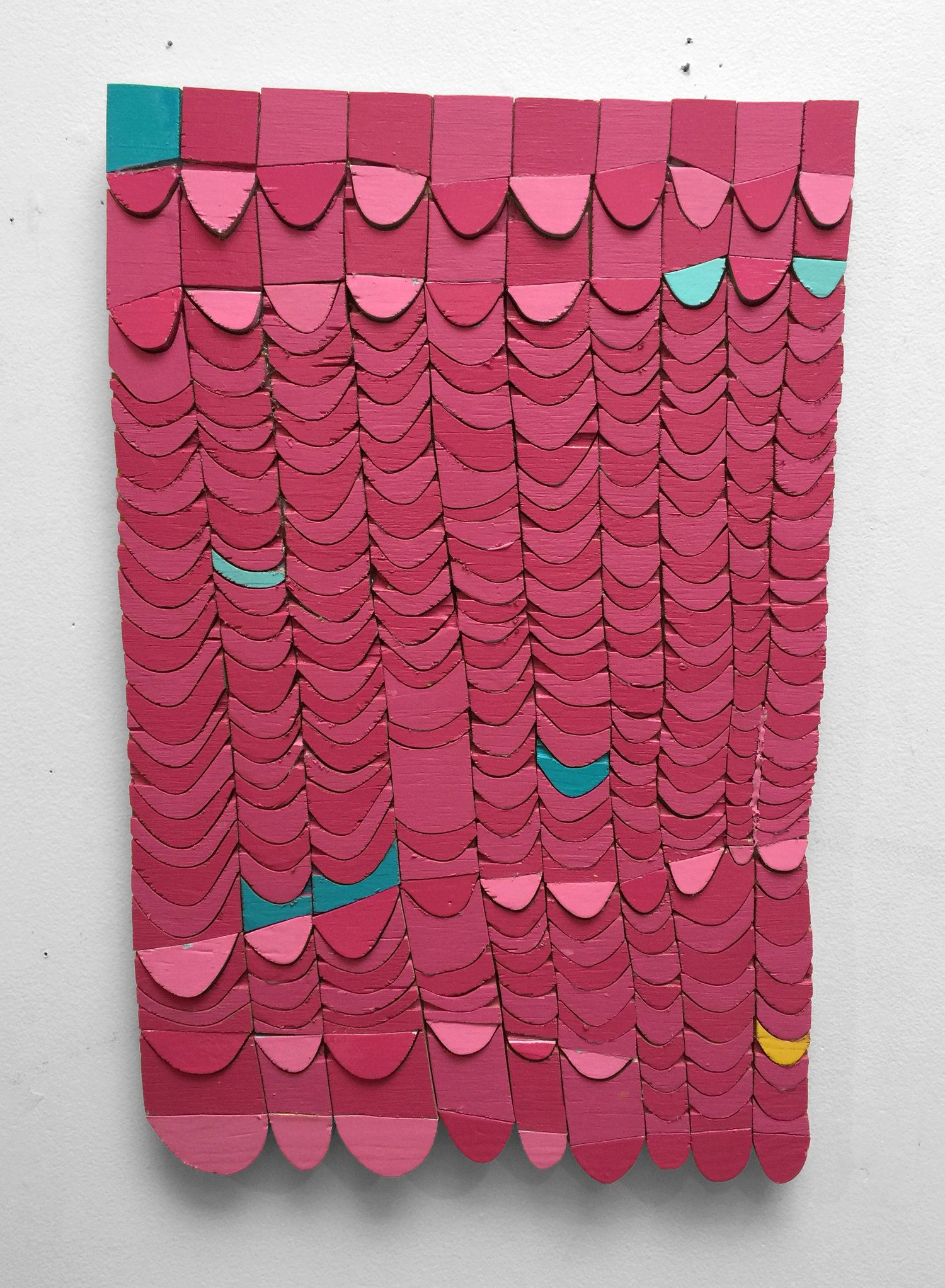 "Untitled (bubblegum)  , 24x18"", paint, wood, and glue, 2019"