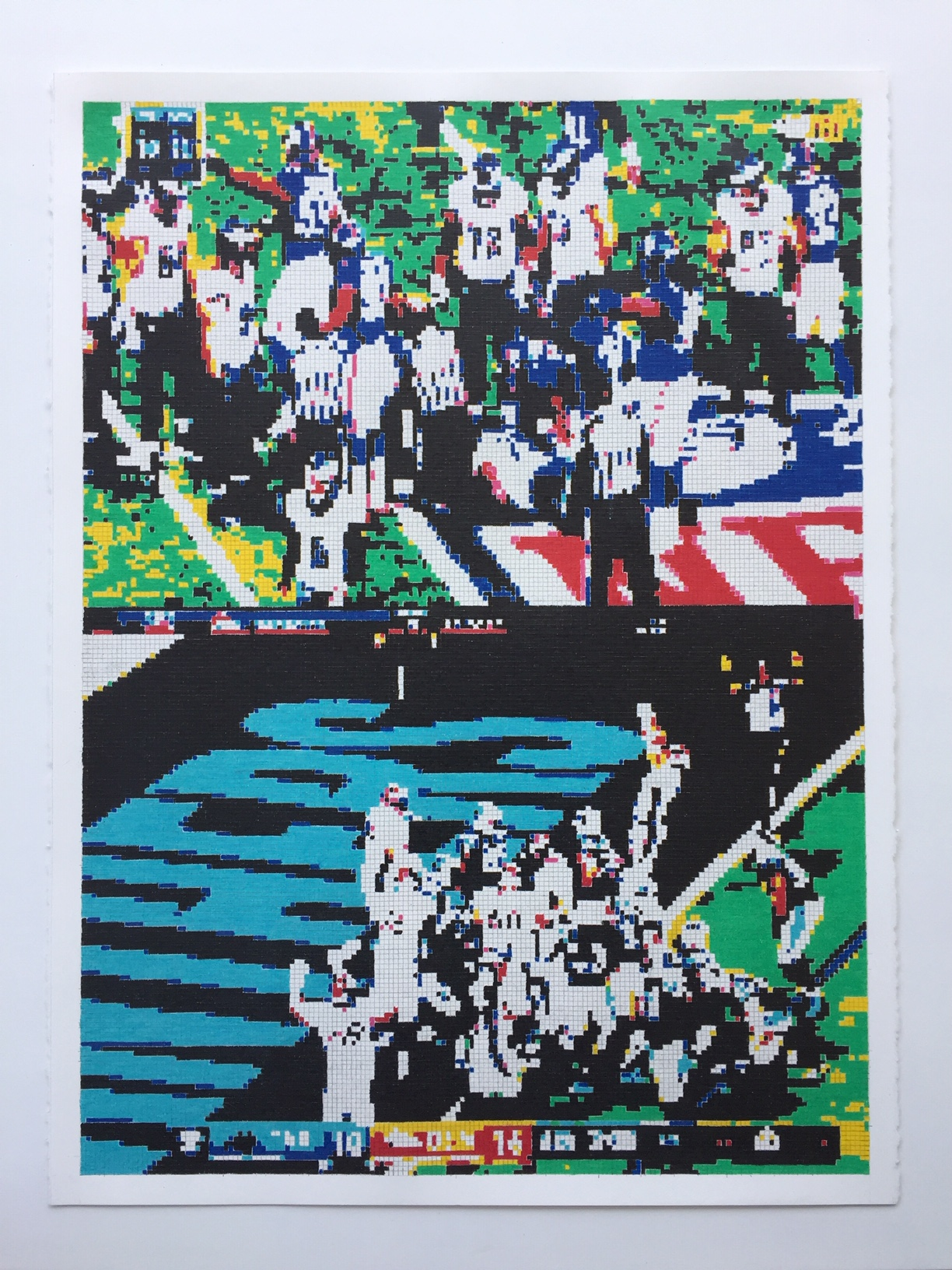 Ok I think I got it now so a touchdown is worth 7 points unless you choose to score a second touchdown instead of a field goal which makes it 8  , color pencil on paper, 2019
