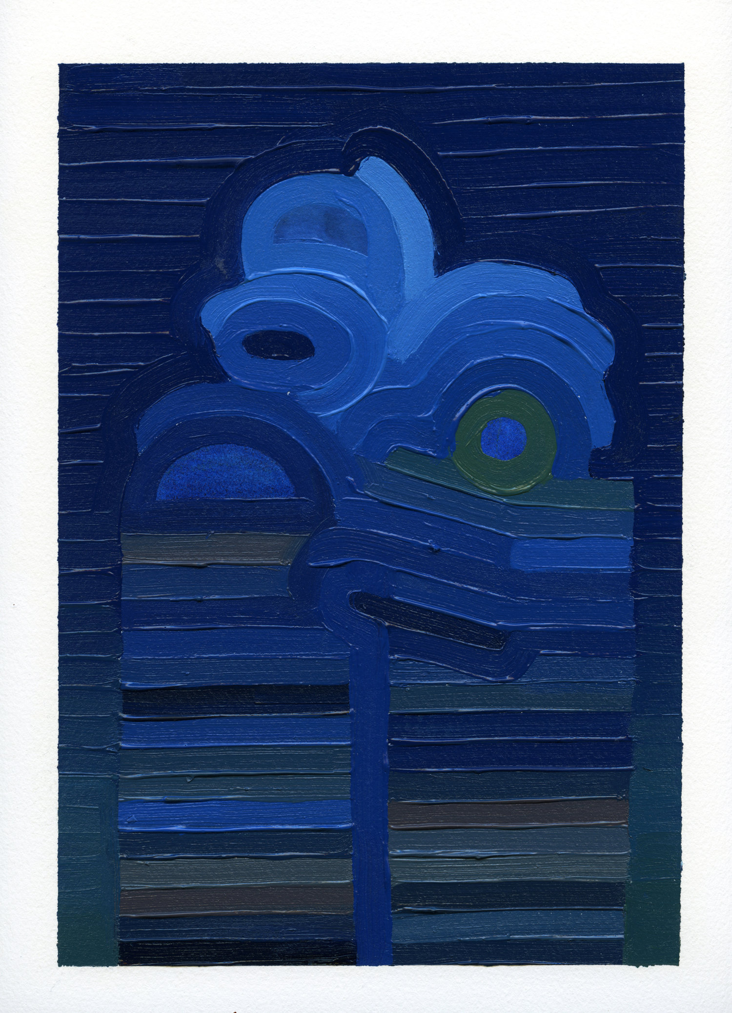 Blue Tower  , oil on archival paper, 2019