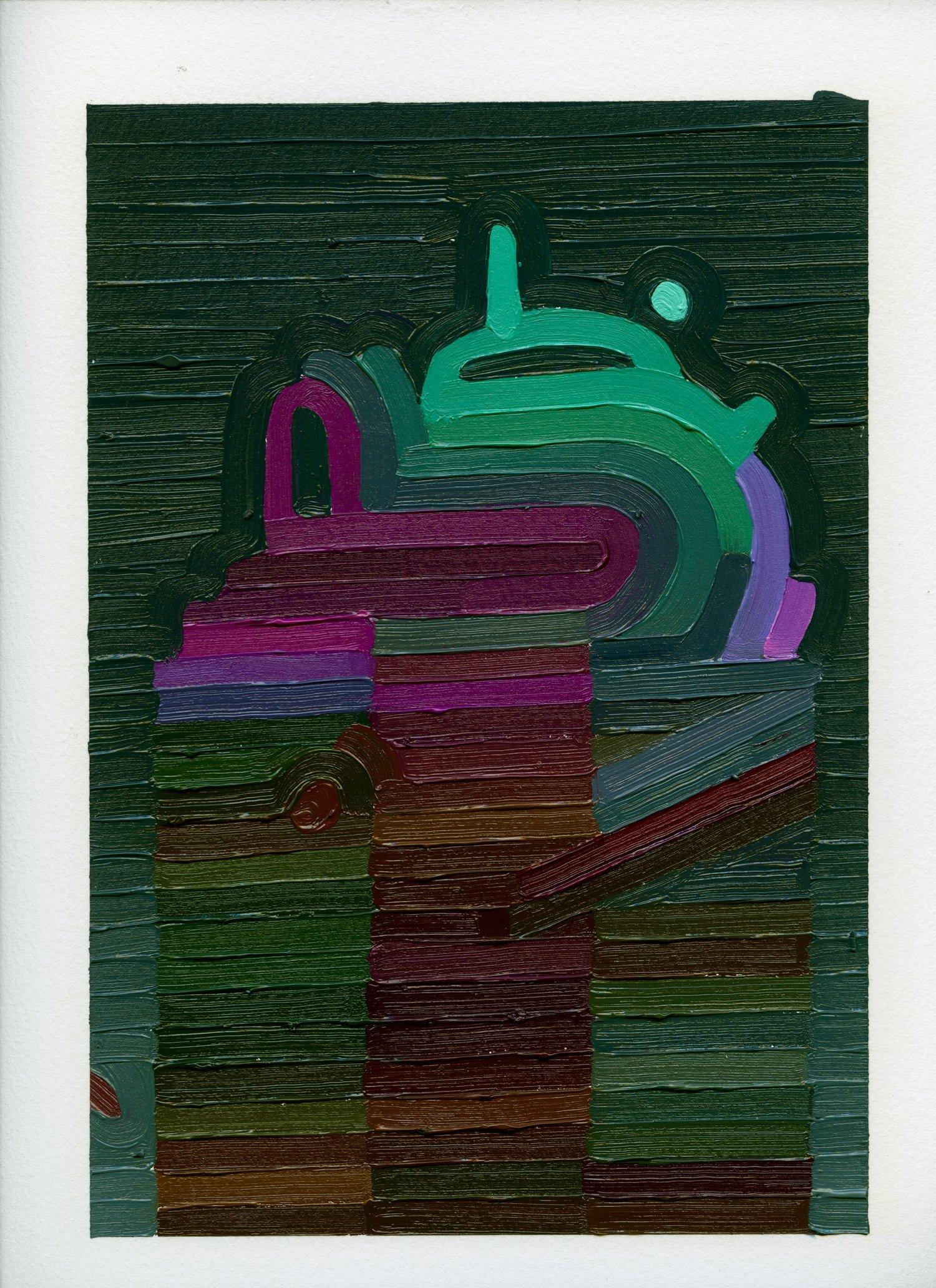 Dark Tower  , oil on archival paper, 2019