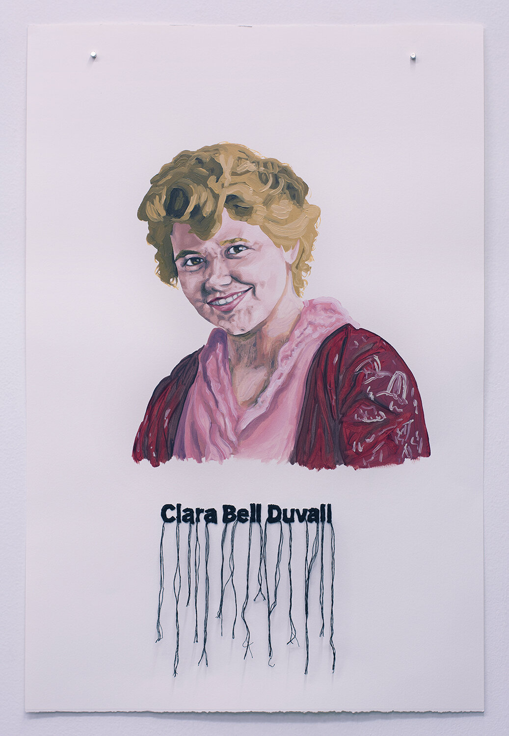 Clara Bell Duval , oil on paper with embroidery, 2018