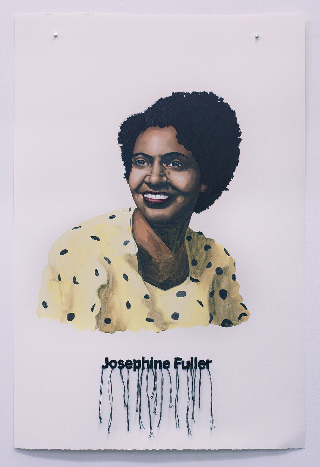 Josephine Fuller , oil on paper with embroidery, 2018