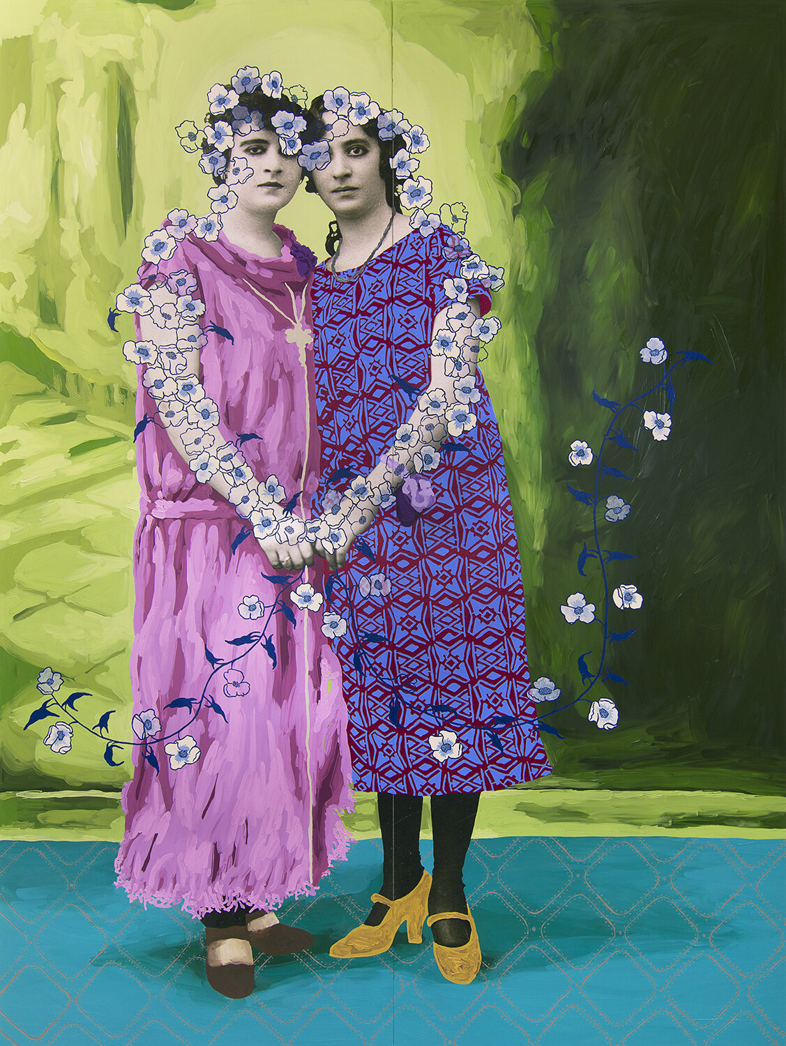 Untitled (Two Women Holding Hands with Cream and Blue Flowers),  oil on photo print mounted to panel, 2019