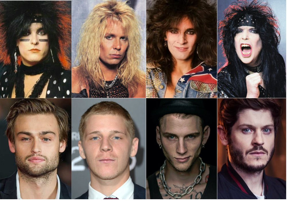 Side by side comparison of the actors and the actual Motley Crue band.