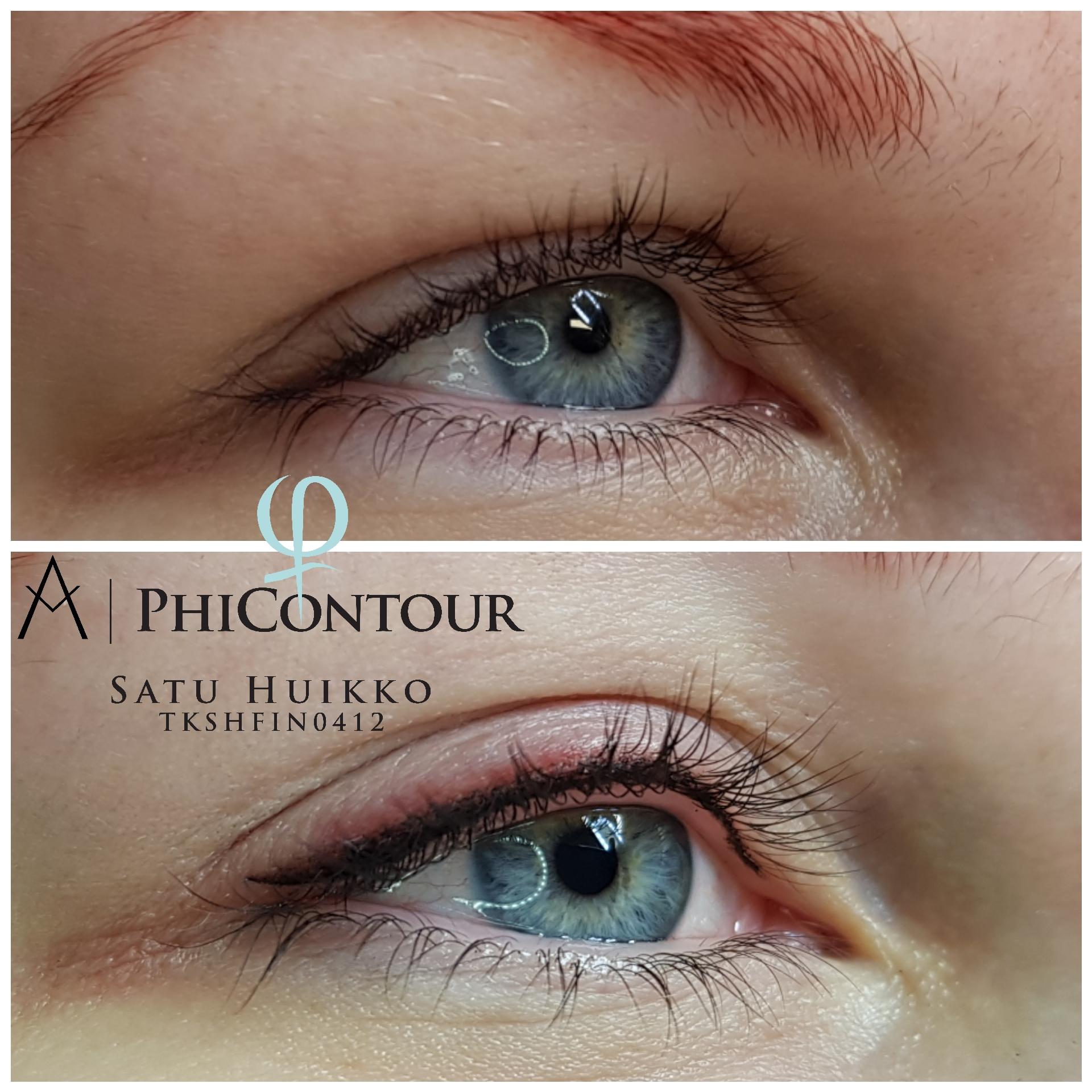 Eyeliner pigmentointi pienellä häivytyksellä heti käsittelyn jälkeen