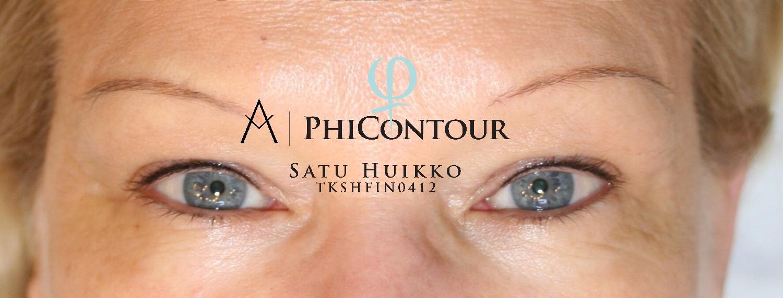 Valmis ja parantunut eyeliner pigmentointi yläluomella.
