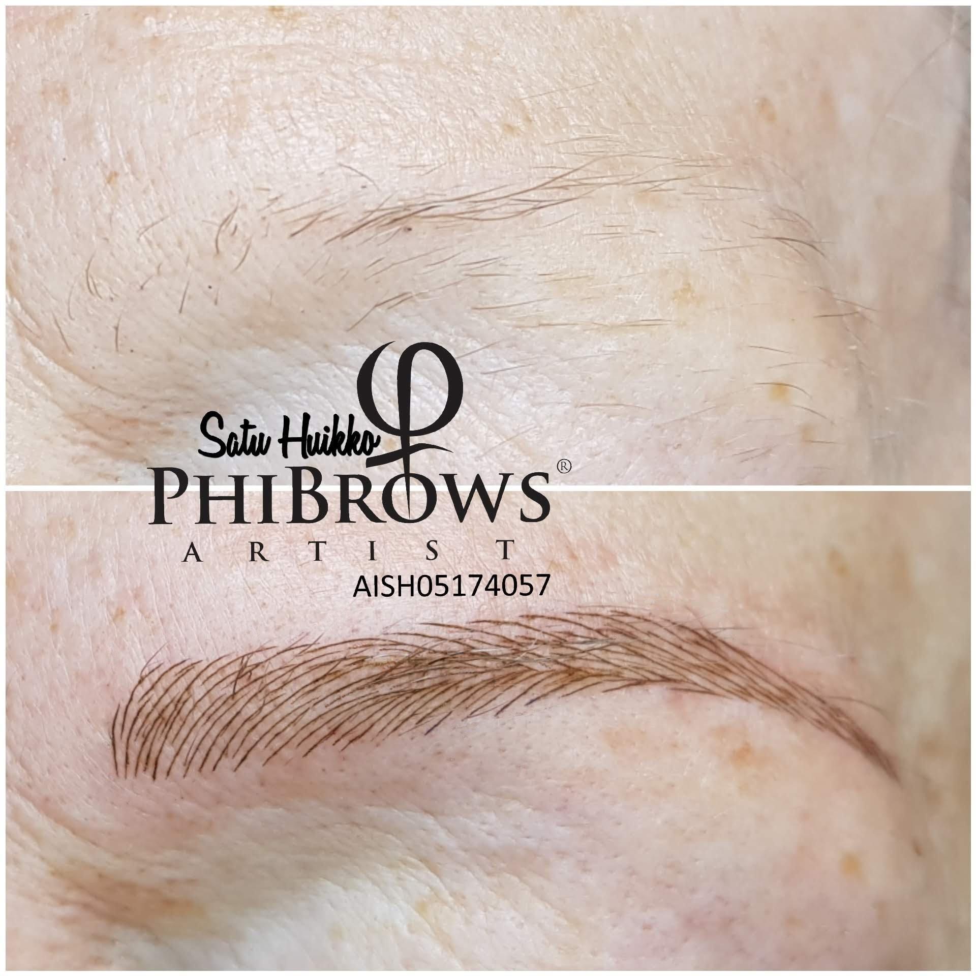 Microblading kulmat yli 70 -vuotiaalle rouvalle. Kestopigmentointien ja microbladingin etuna verrattuna tatuointiin on, että vahvistus käynneillä muotoa voidaan muuttaa.