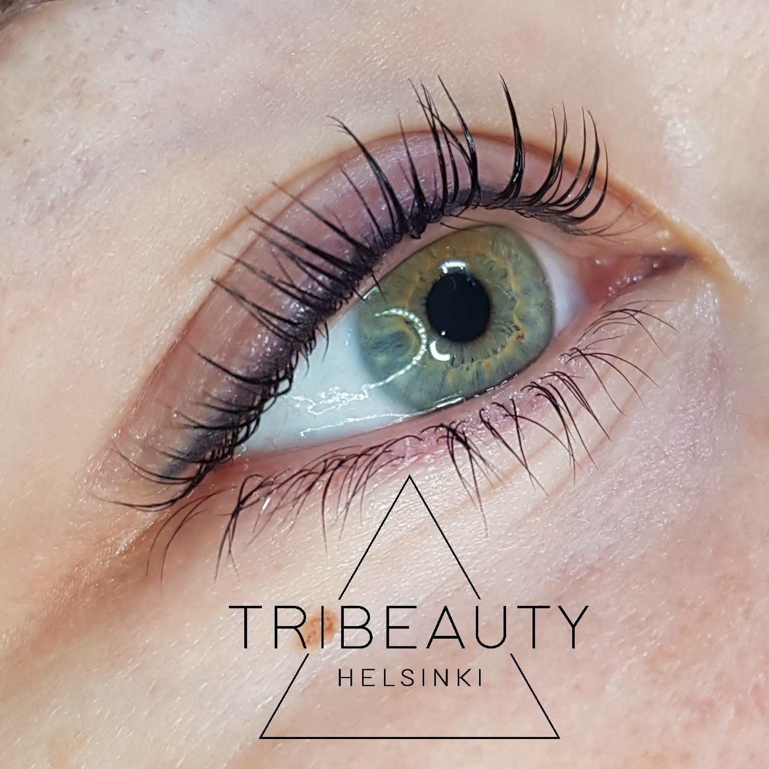 Yumi -ripsien kestotaivutus ja eyeliner pigmentointi.