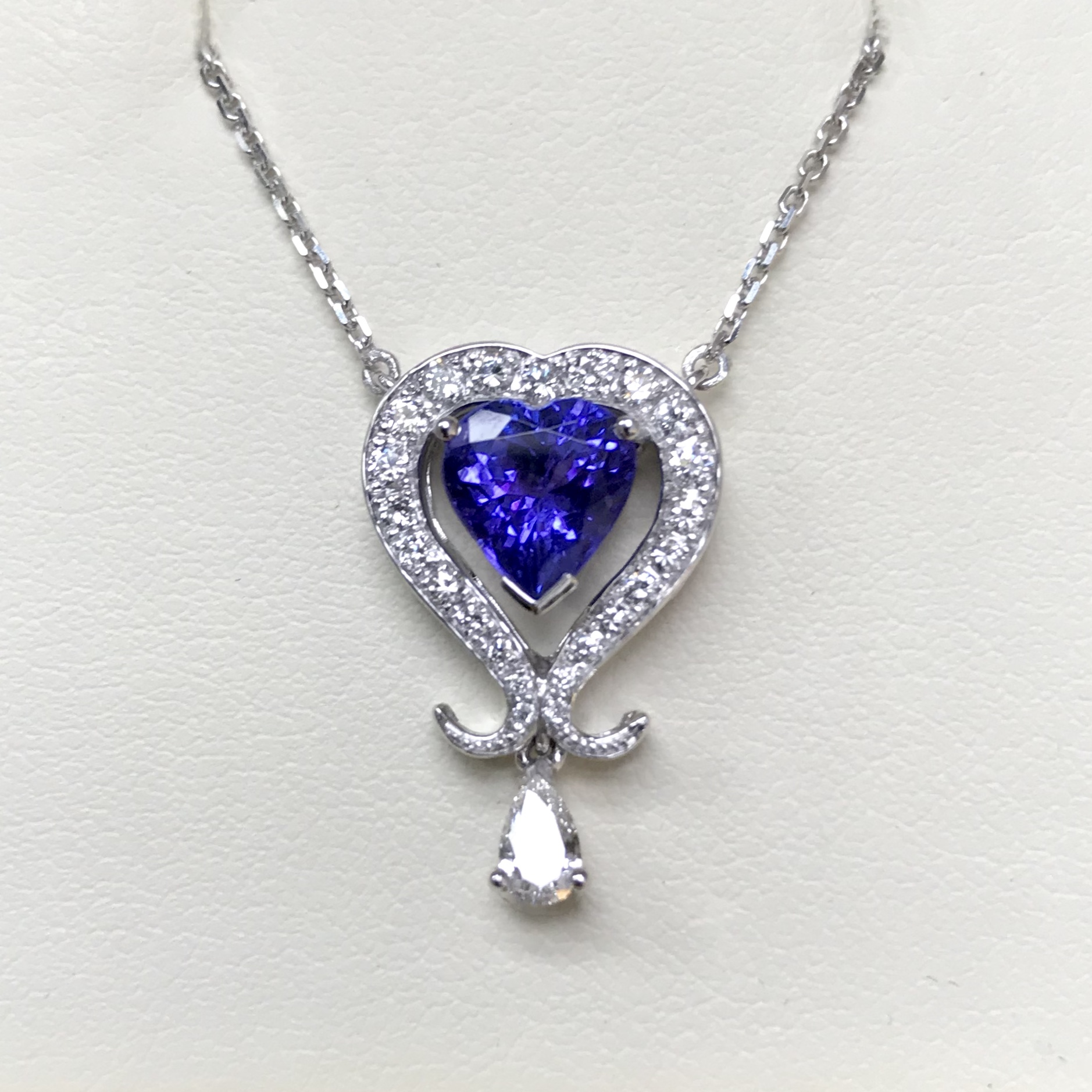 Made to order - A stunning Heart Cut Tanzanite and Diamond articulated pendant commissioned to celebrate a big birthday.