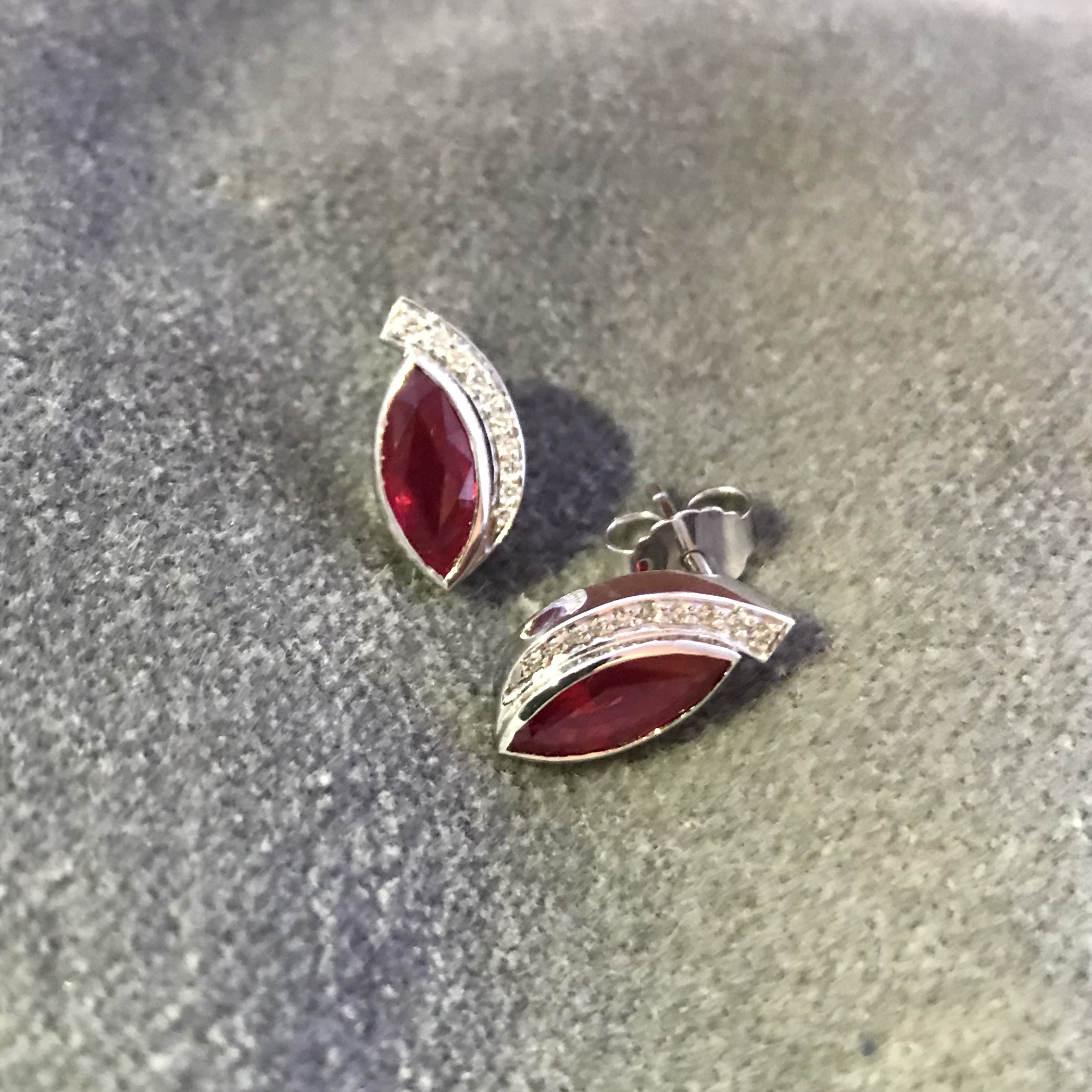 Made to order - These beautiful marquise Rubies set in 18ct white gold with Diamonds were commissioned for a ruby anniversary.