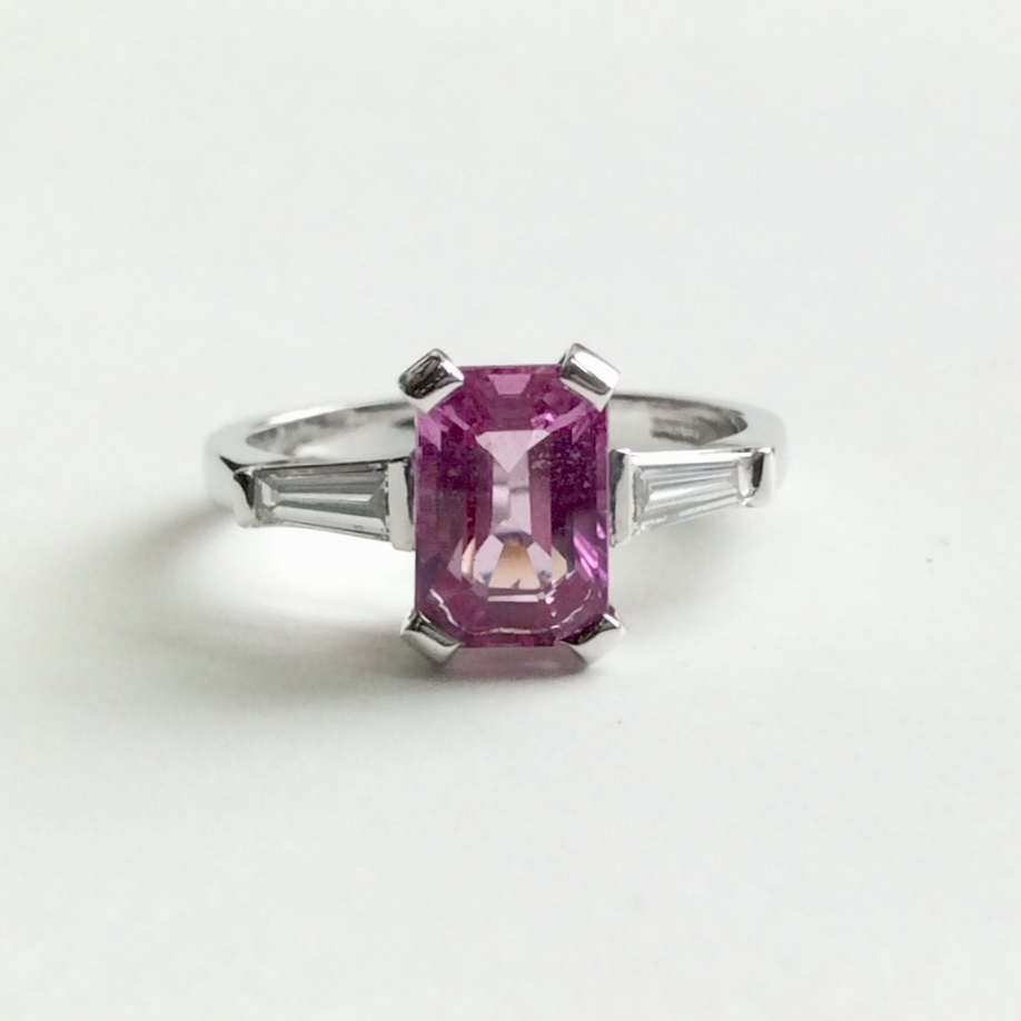 Made to order - This beautiful pink Sapphire and tapering baguette Diamond platinum ring was a special birthday commission.