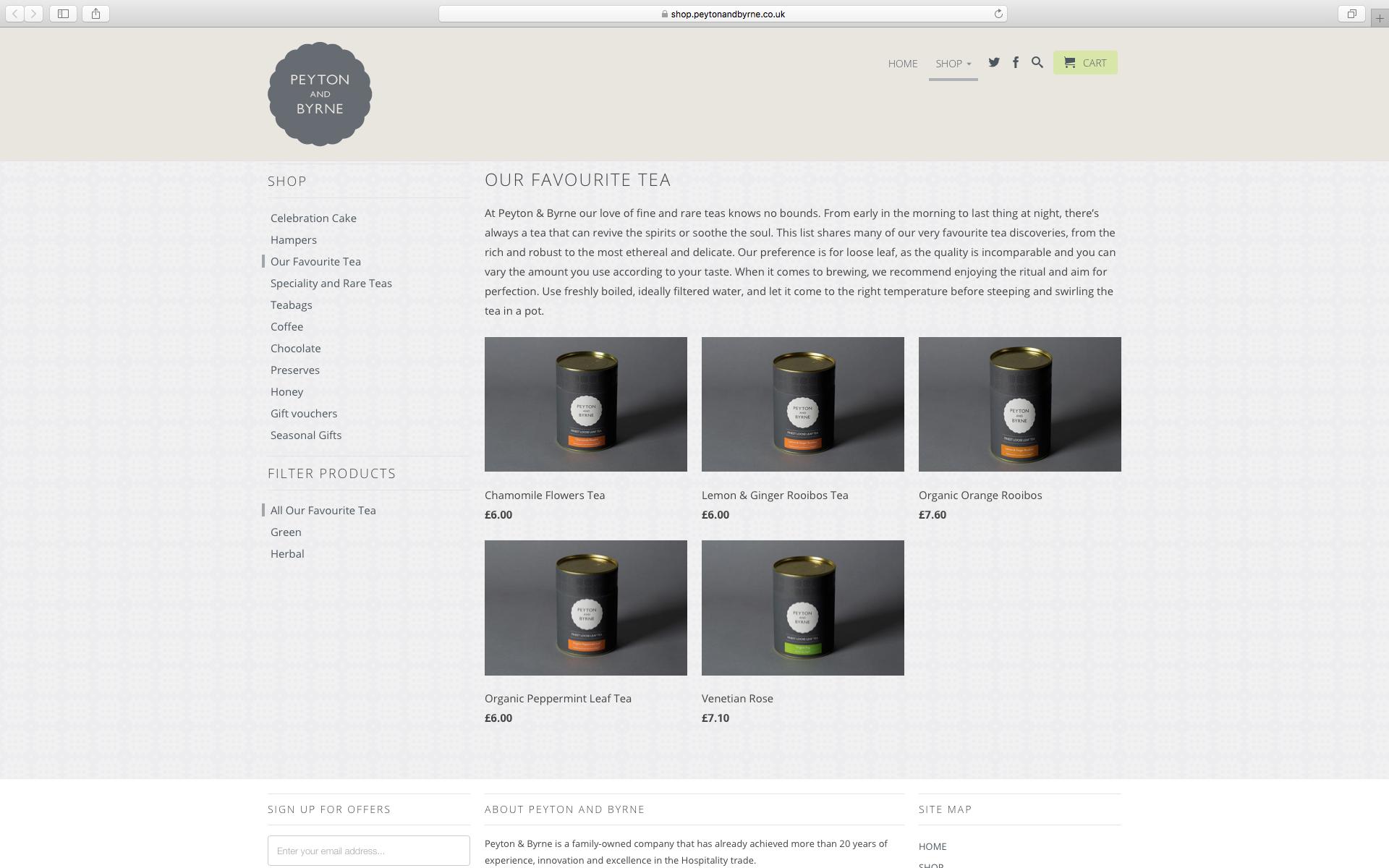 Loose leaf tea packaging for Peyton & Byrne