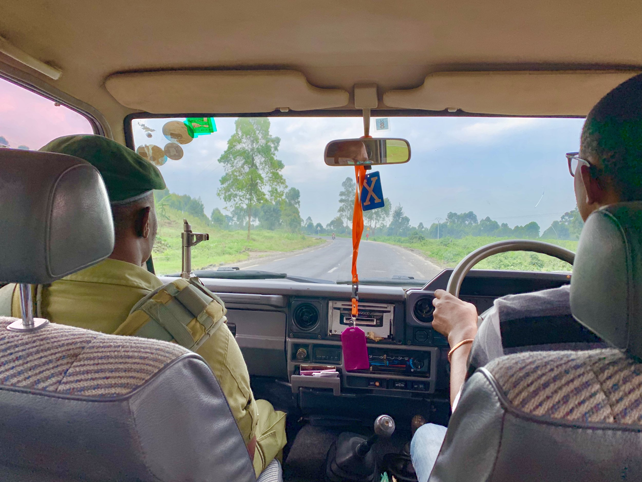 My security guard and driver taking us into the Virunga National Park