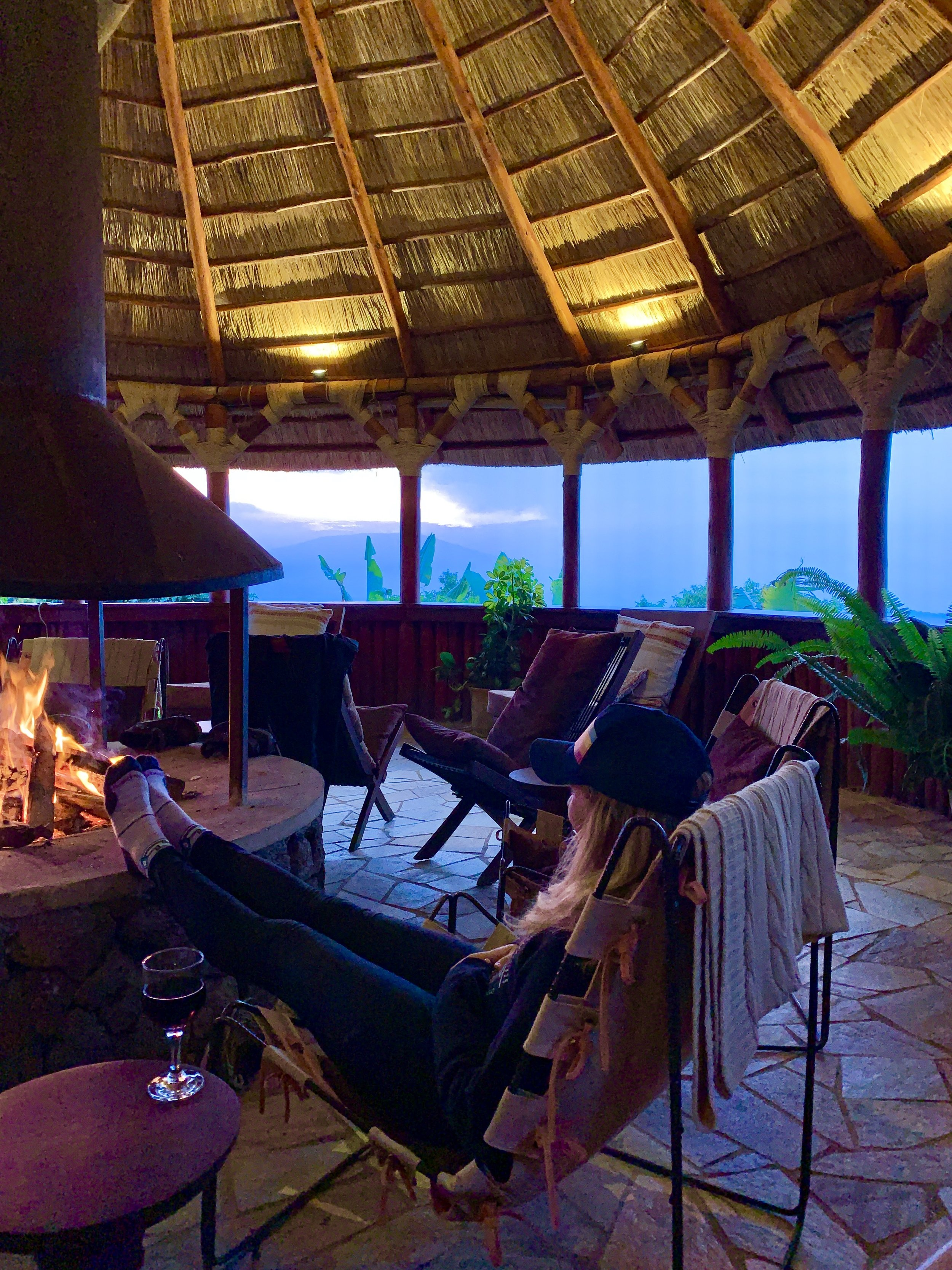 Enjoying the firepit and views from the Kibumba common area