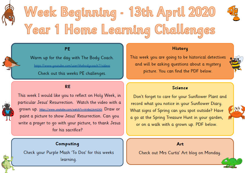 Year 1 Tuesday 14th April Home Learning Challenges Our Lady Star Of The Sea Rc Primary School