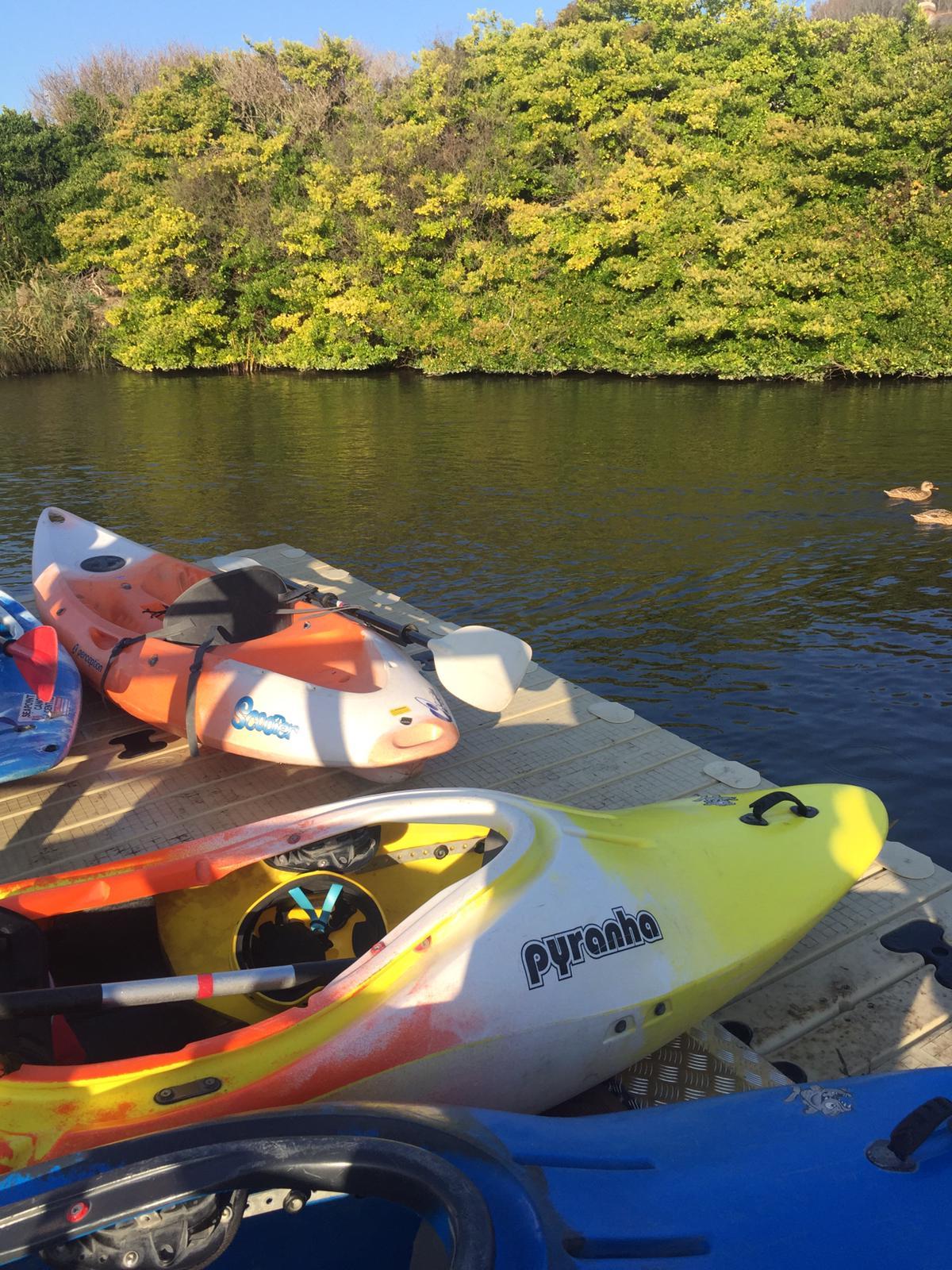 Seapoint Canoe Centre Canoes sunbathing on new pontoon Nov 2018.jpg