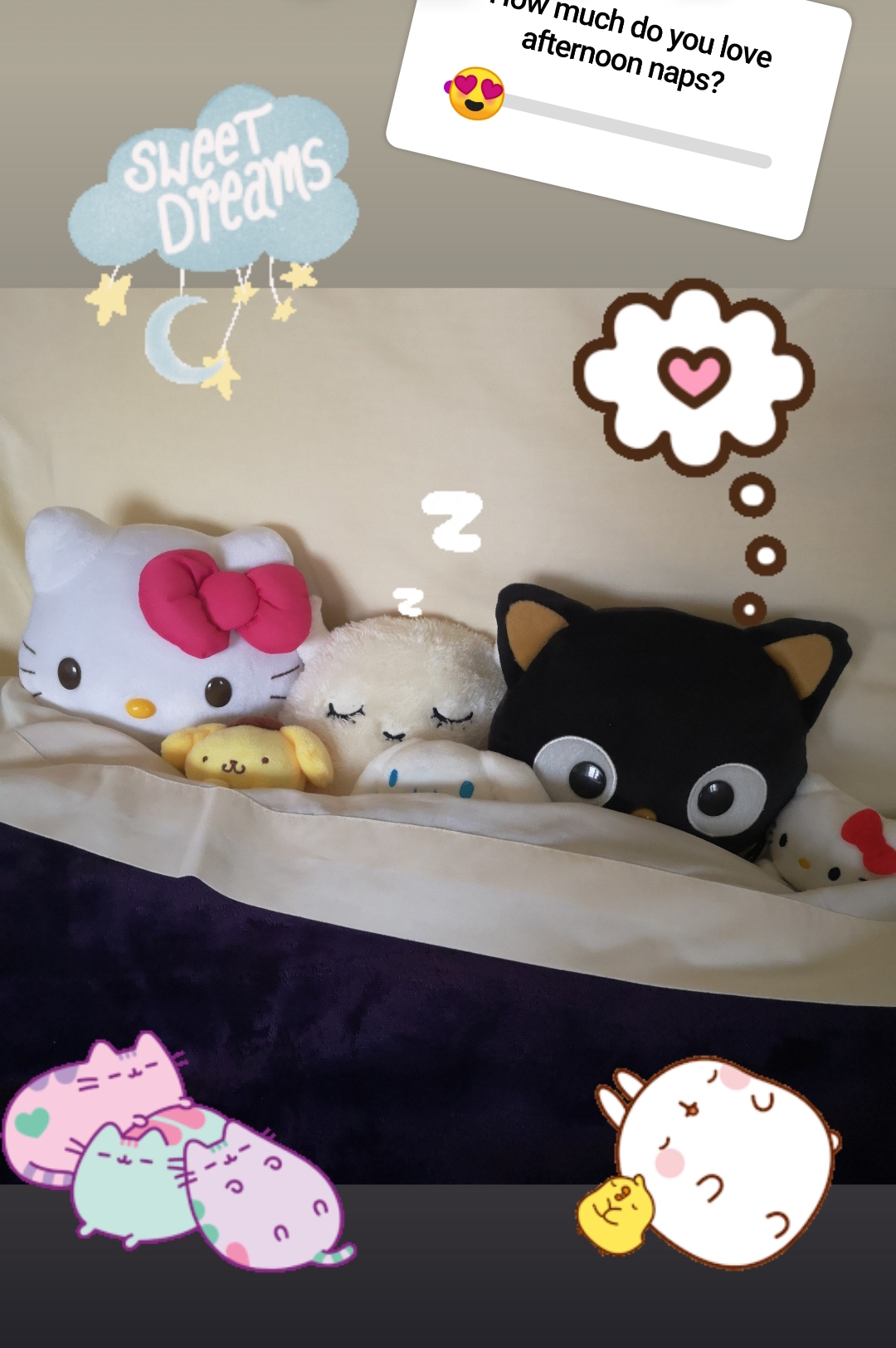 Some of our plushes all snuggled up!