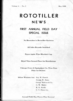 By 1938 Kelsey was building Rototillers and his Dealer Network was selling them. This brochure tells about the first Field Day in Troy.