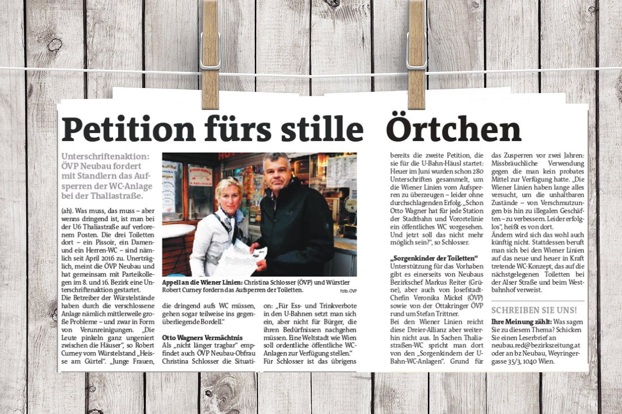 """Zwist ums 'Stille Örtchen"""" der Thaliastrasse - Bezirkszeitung"""