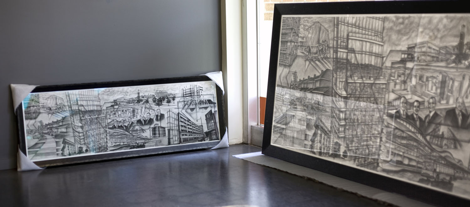 This 9' wide original drawing (right) was photographed, printed (left), and both were framed all in house!