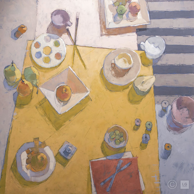 Paint Palette, Pears on Yellow Cloth