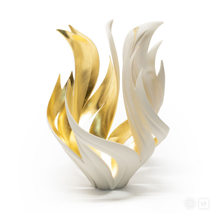 Gilded Torch Flame Vessel