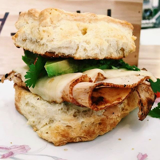 Build your own biscuit done right 🔥 Buttermilk biscuit sandwich with turkey, swiss, avocado, and cilantro from @root_stock_provisions in Richmond. They have breakfast, lunch, and carry-out with a menu full of locally sourced goodness. #vafoodie 📷: @root_stock_provisions