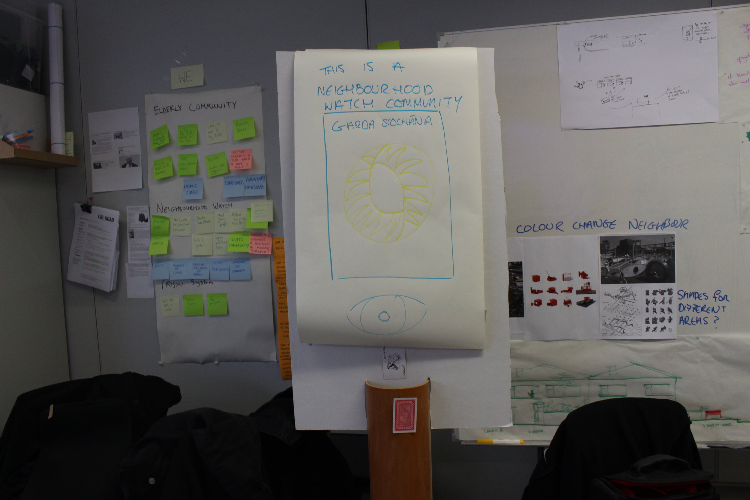 Rapid prototype of changing sign, cardboard background was the screen that would be shown