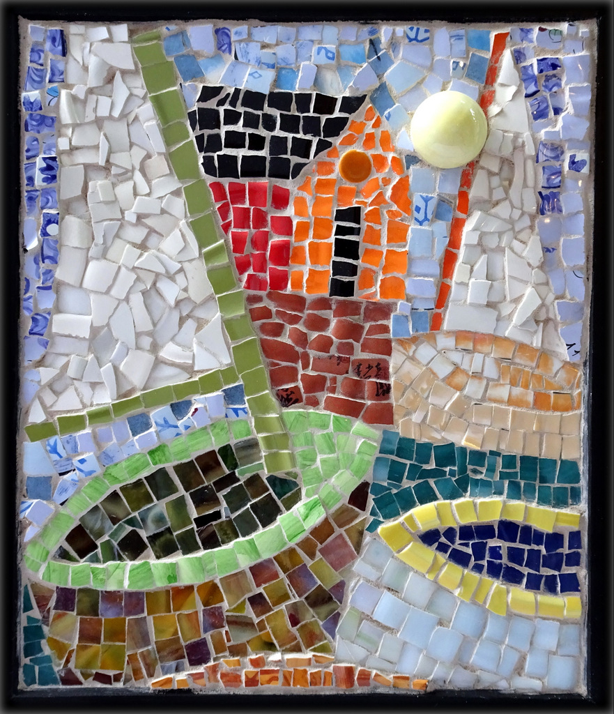 """SAILBOATS"",  Ceramic and Glass Mosaic,  14x12 inches,  $190"
