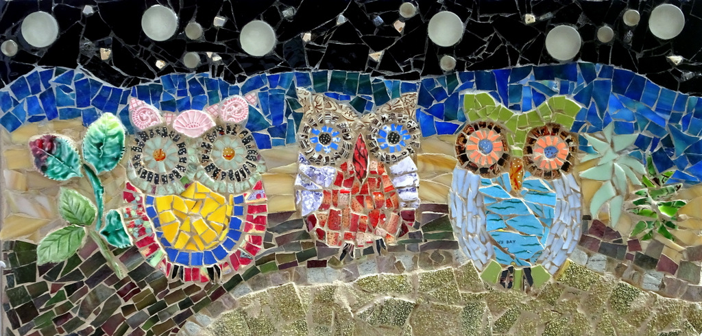 """THE OWL TRIO"",  Ceramic and Fused Glass Mosaic,  11x16 inches,  $450"