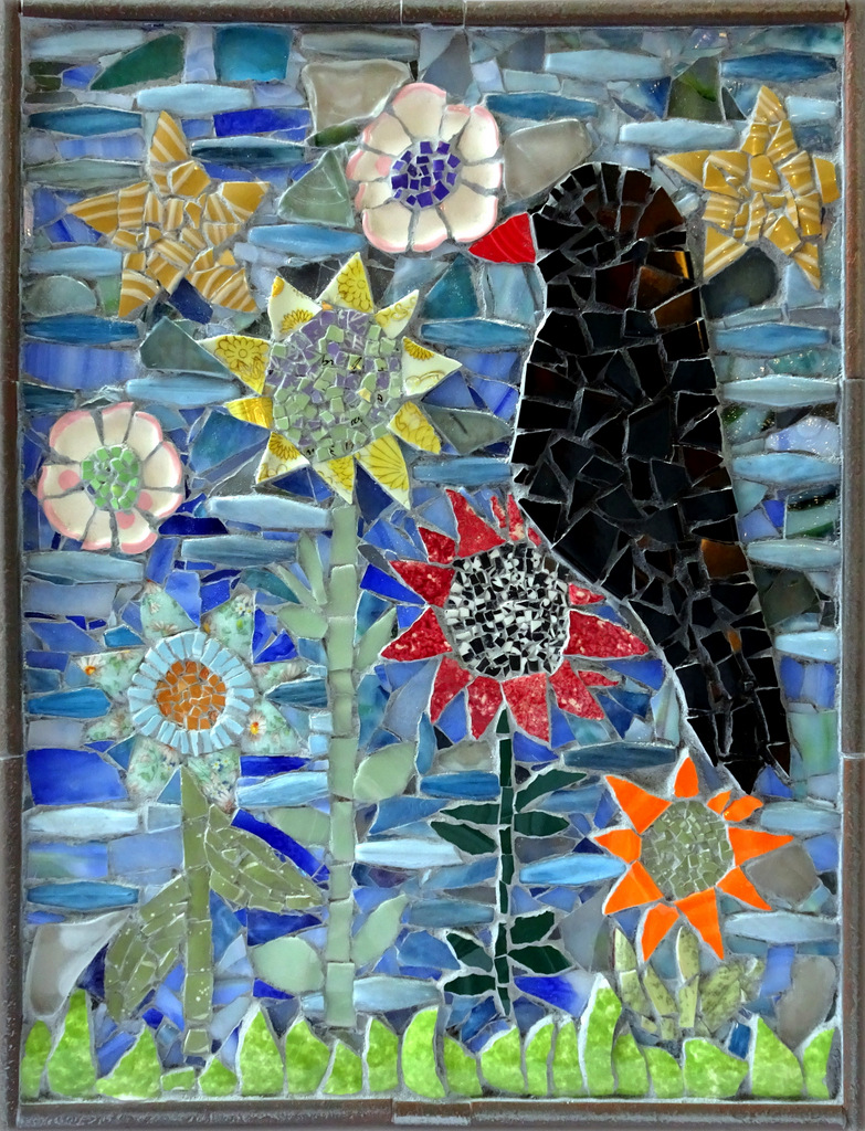 """CROW WITH FLOWERS"",  Ceramic and Glass Mosaic,  18x14 inches,  SOLD"