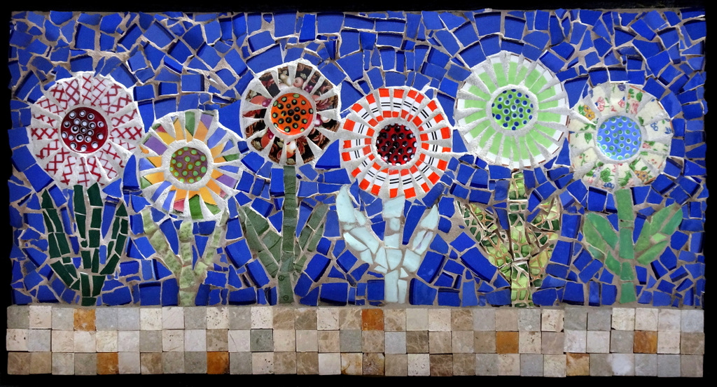"""FLOWER GARDEN"",  Ceramic and Fused Glass Mosaic,  12x21 inches,  $450"