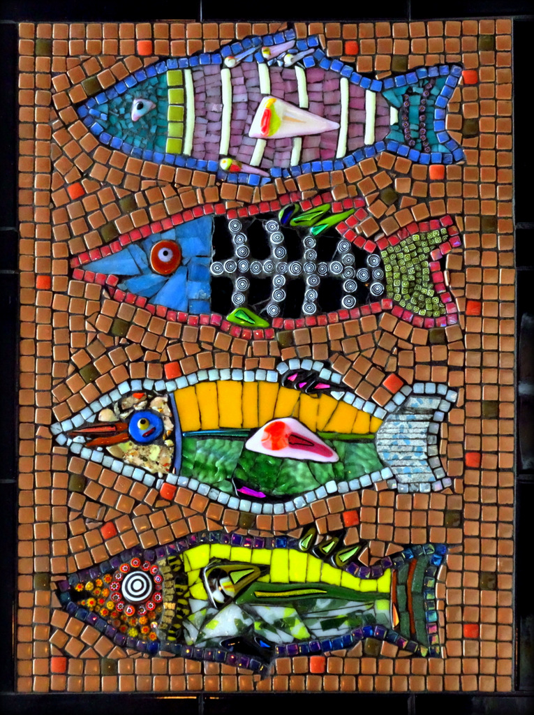 """FISH"",  Ceramic and Fused Glass Mosaic,  21x16 inches,  $500"