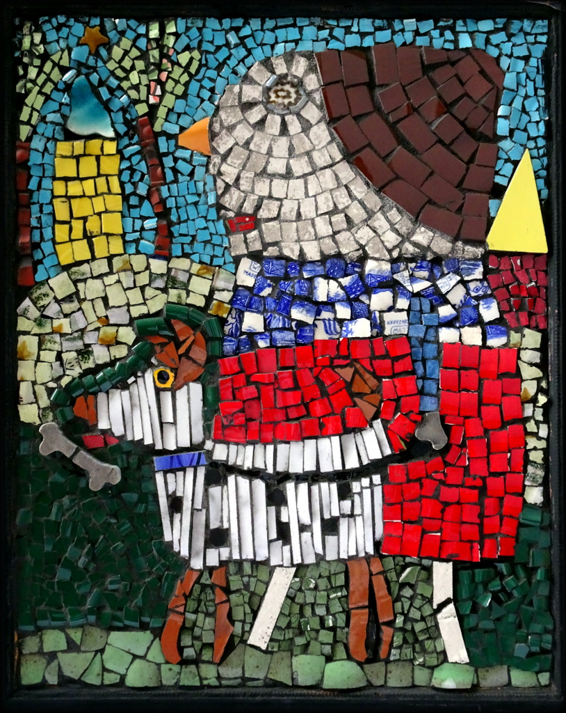 """DOG WALKER"",  Ceramic and Glass Mosaic,  SOLD"