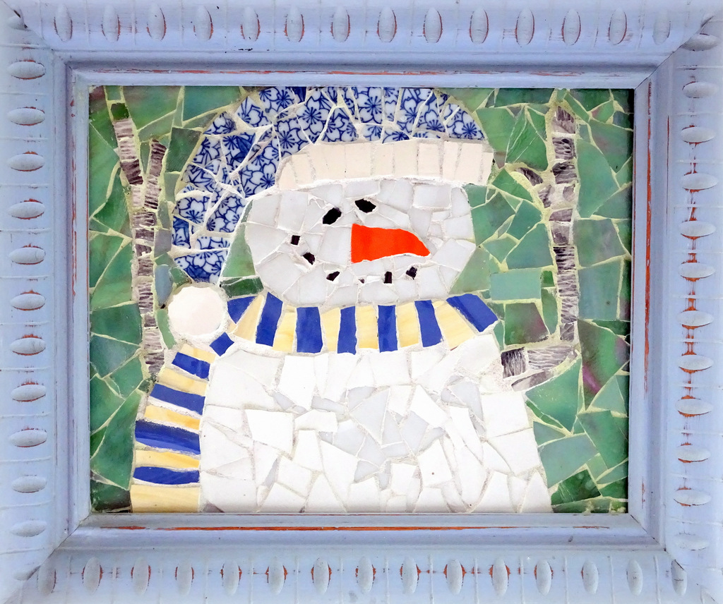 """LITTLE SNOWMAN"",  Ceramic and Glass Mosaic,  11x13 inches,  $140"