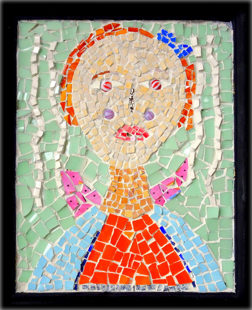 """PINK ANGEL"",  Ceramic and Glass Mosaic,  9x11 inches,  $140"