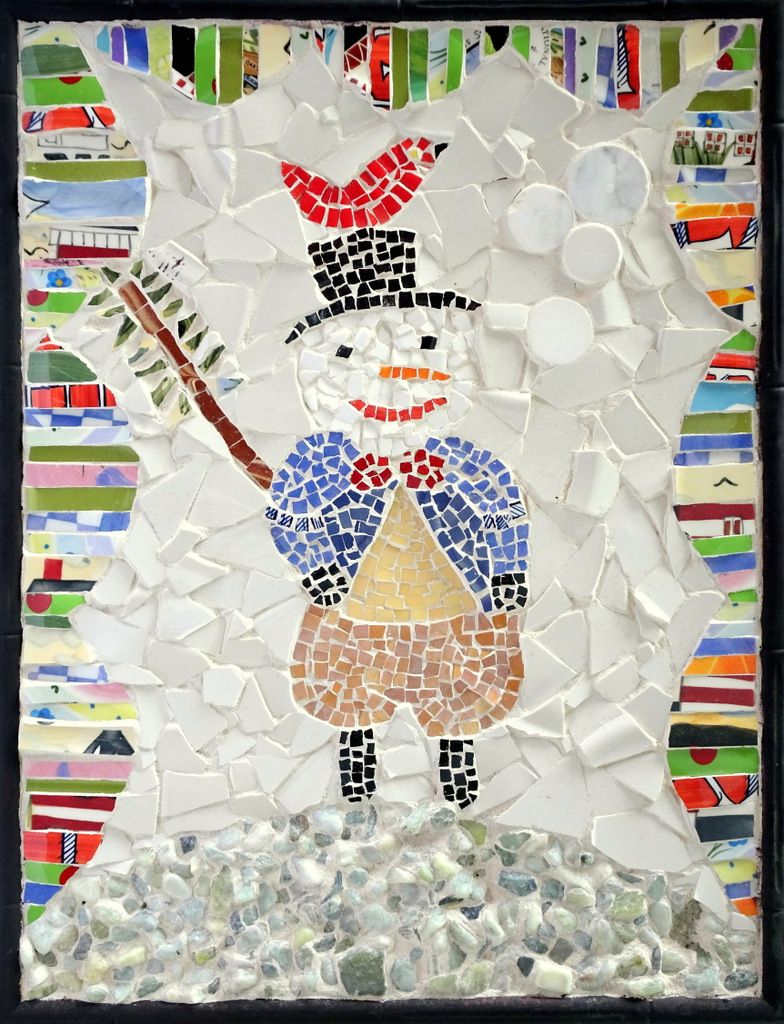 """MR. SNOWMAN"",  Ceramic and Glass Mosaic,  20x16 inches,  $280"