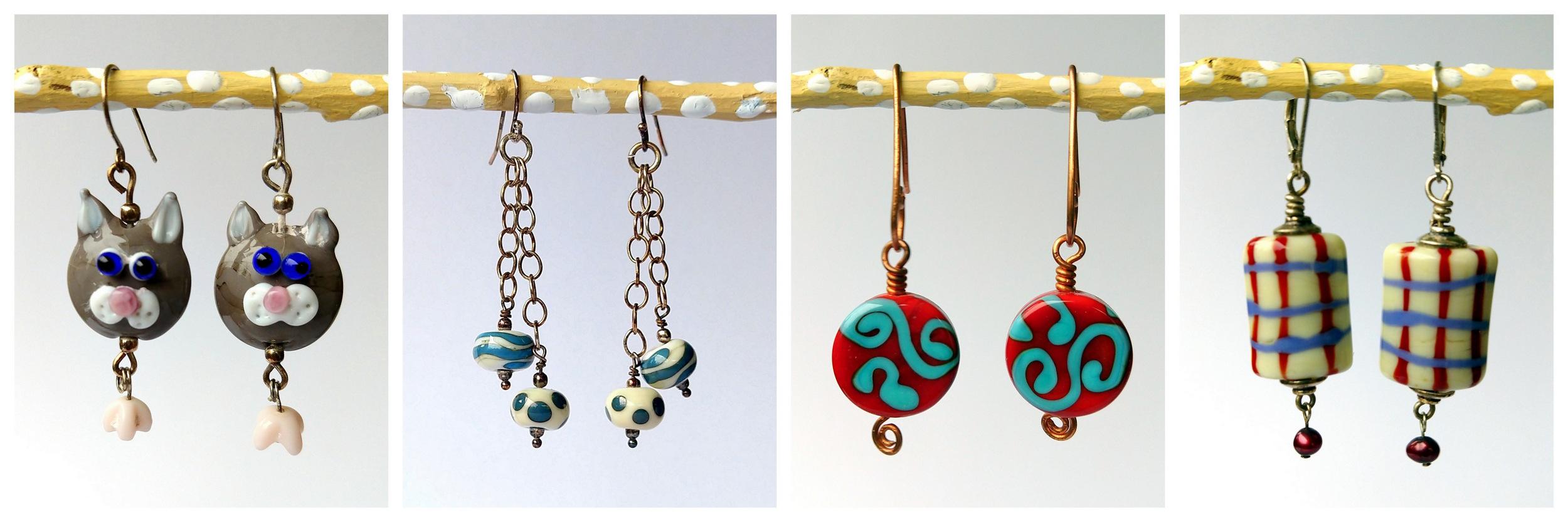 Glass Bead Earrings, Handmade, Bitty Bits Mosaics-001.jpg