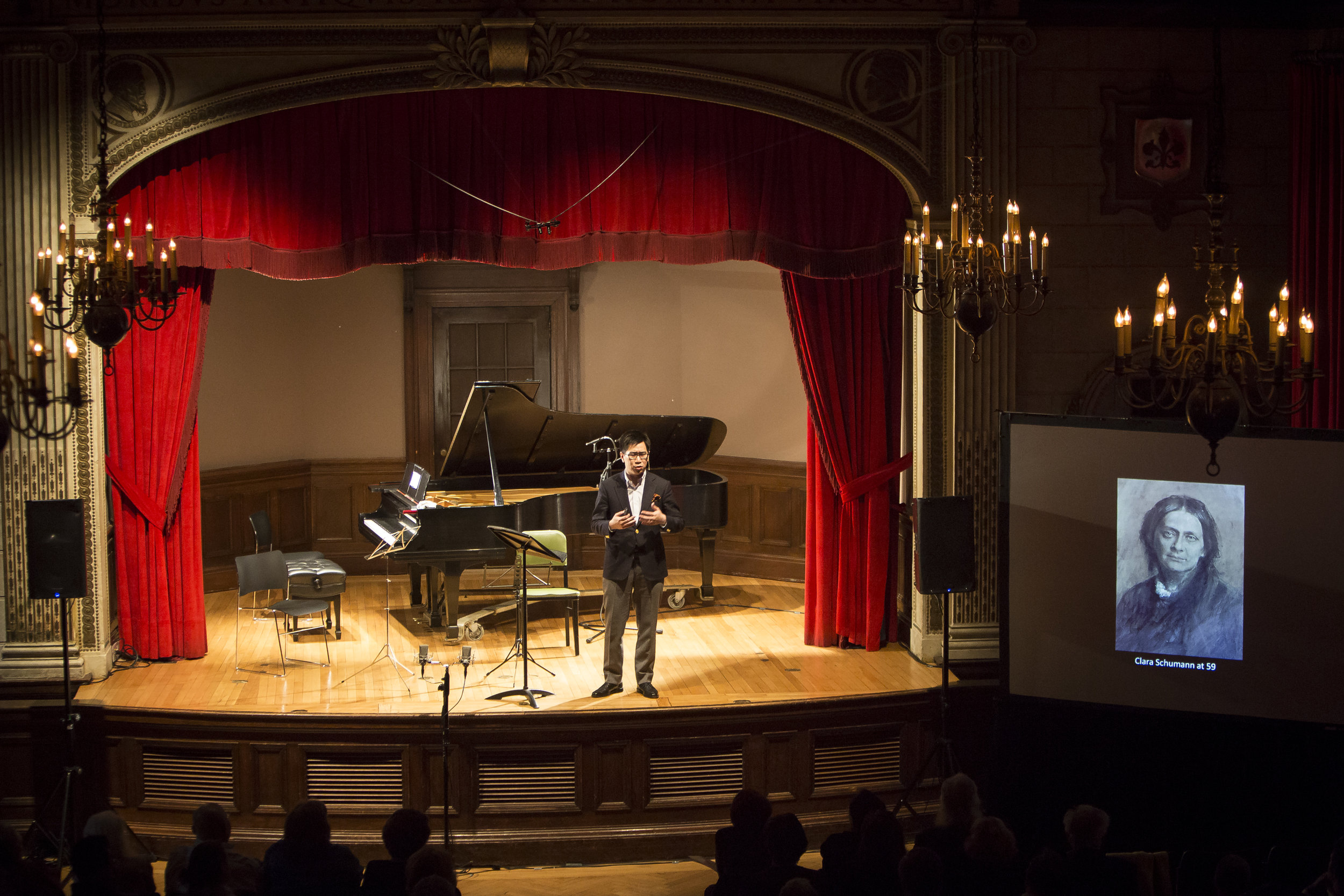 CLARA SCHUMANN: ARTIST AND MUSE - april 19, 2017. italian academyStephanie Chase, violinSophie Shao, celloTodd Crow, pianoIllustrated talk by Stephen JohnsonRobert Schumann - Five Pieces in Folk Style for cello and piano, Op. 102Johannes Brahms - Sonata in G major for violin and piano, Op. 78Clara Schumann - Piano Trio in G minor, Op. 17