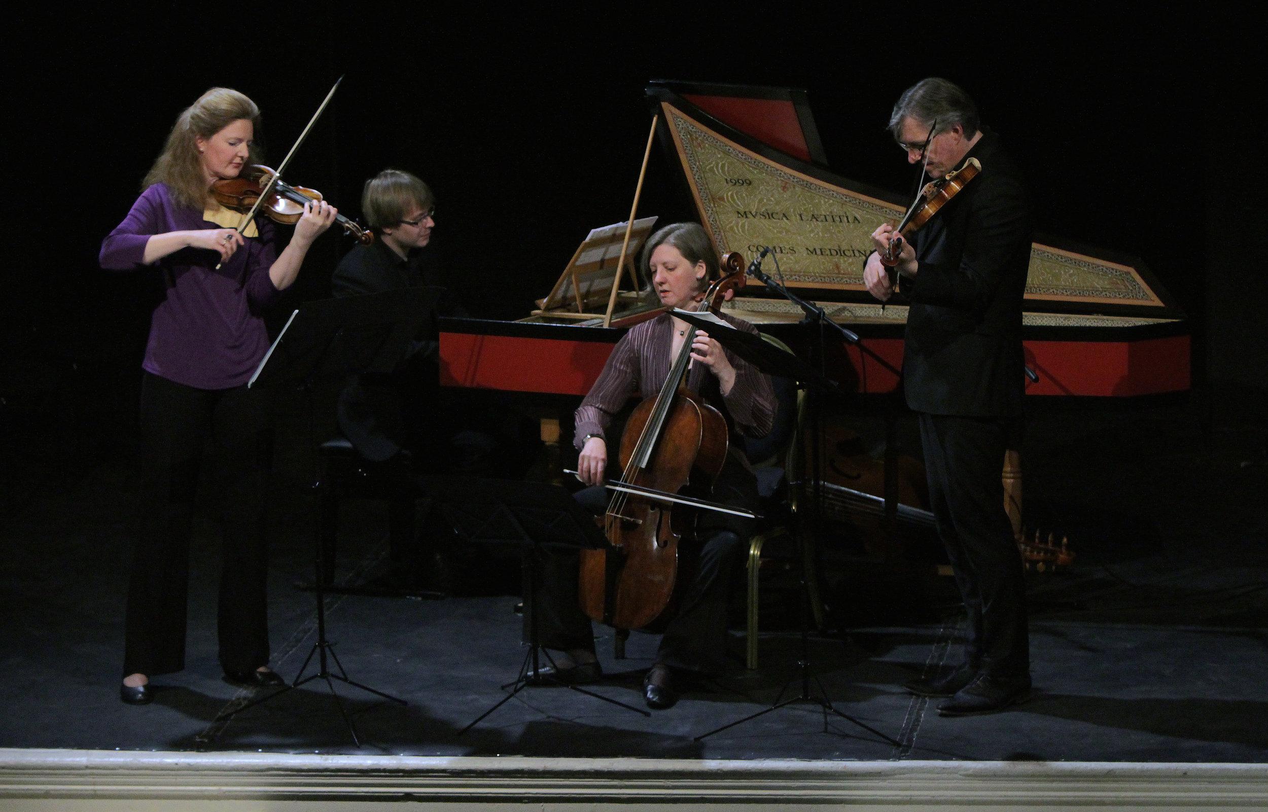 BAROQUE LONDON. MUSIC FOR COURT AND SALON - May 13, 2015. londonRachel Podgerdirector/violinBrecon BaroqueIllustrated talk by Richard WigmoreHandel - Trio Sonata in D major, Op. 5 No. 2, HWV 397Handel - Trio Sonata in G minor, Op. 2 No. 8, HWV 393Handel - Violin Sonata in A major, Op. 1 No. 3, HWV 361Geminiani - Violin Sonata in D minor, Op. 4 No. 8Purcell - 10 Sonatas in 4 parts: No. 6 in G minor, Z807in E flat major 12 Sonatas of 3 parts: No. 6 in C major, Z795; No. 3 in D minor, Z792Boyce - Sonata No. 1 in A minorAvison Sonata for harpsichord, 2 violins and cello in D major, Op. 8 No. 3