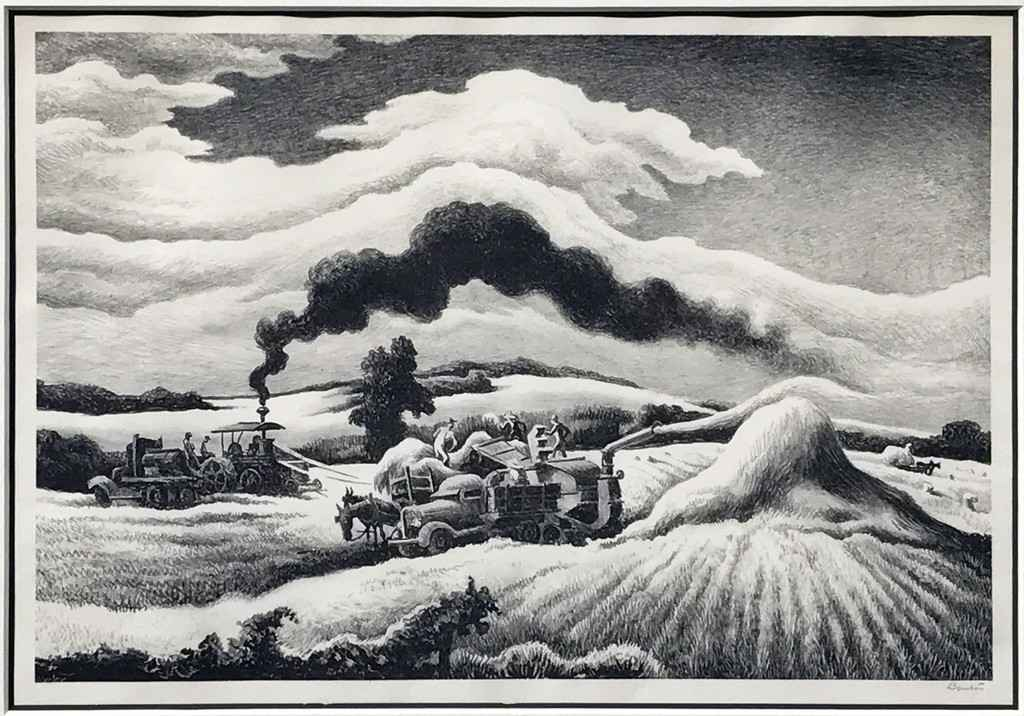 Threshing  (1941) by Thomas Hart Benton will be one of the lithograph prints on display September 2–7.