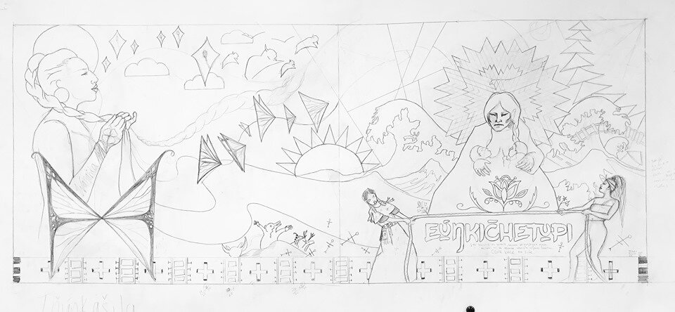 Line art rendering of the full mural design. The righthand portion, titled  Eúŋkičhetupi,  was completed in summer 2019. The left side,  Wanáȟča,  will wrap the northeast corner of the building and is planned for summer 2020.