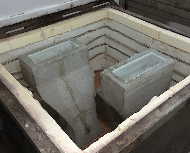 Finial section molds in casting oven
