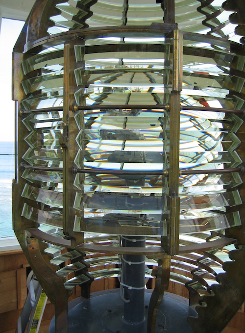 Diamond Head light with panels containing damaged prisms removed