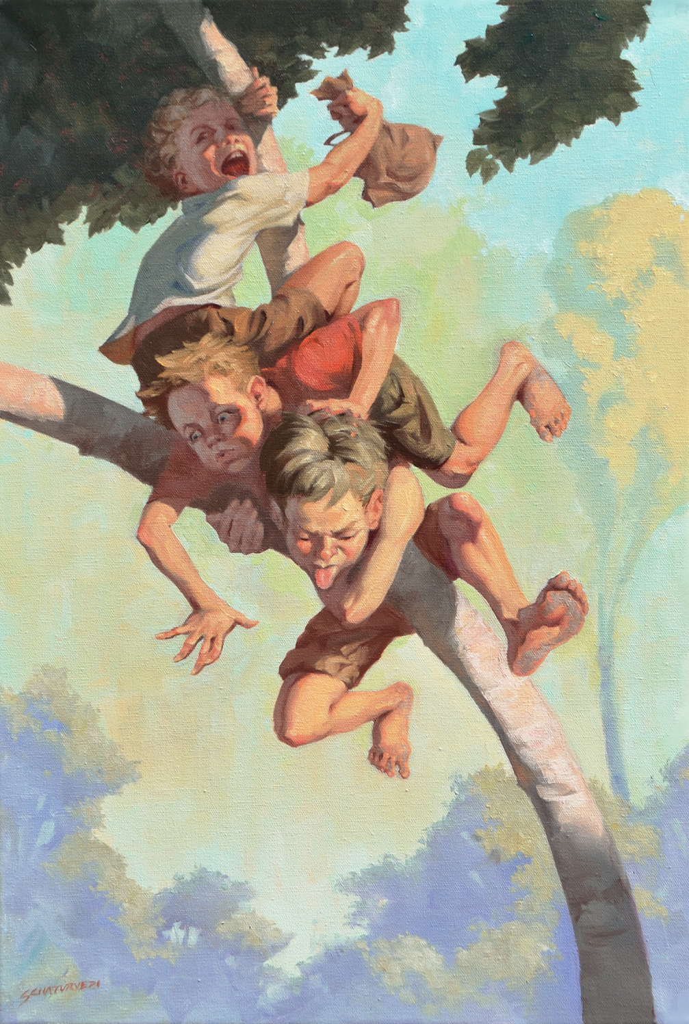 Damn Kids Oil on 40x60cm Canvas - Sold