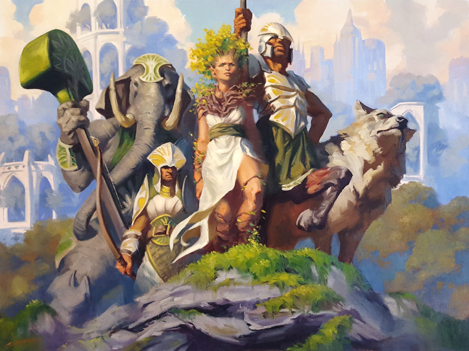 """Magic: The Gathering - Camaraderie Oil on 18x24"""" Canvas - Sold © Wizards of the Coast"""