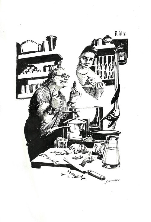 Cooking Lesson $315 Ink drawing on 17x28cm paper