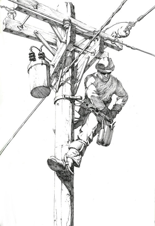 Lineman $315 Ink drawing on 17x28cm paper