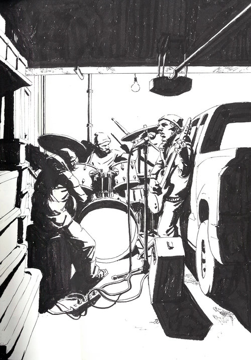 Garage Band $315 Ink drawing on 17x28cm paper